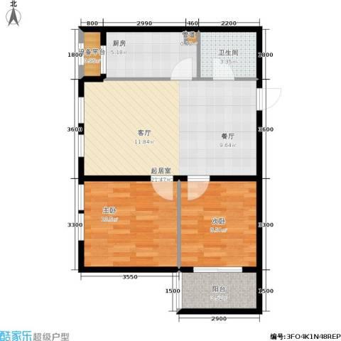 诚安逸品花园2室0厅1卫1厨76.00㎡户型图