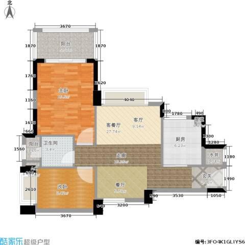 雅居乐花园2室1厅1卫1厨79.00㎡户型图