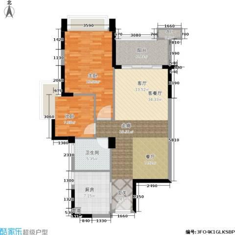 雅居乐花园2室1厅1卫1厨89.00㎡户型图