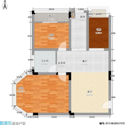 月亮湾草莓街区3室0厅1卫1厨101.00㎡户型图