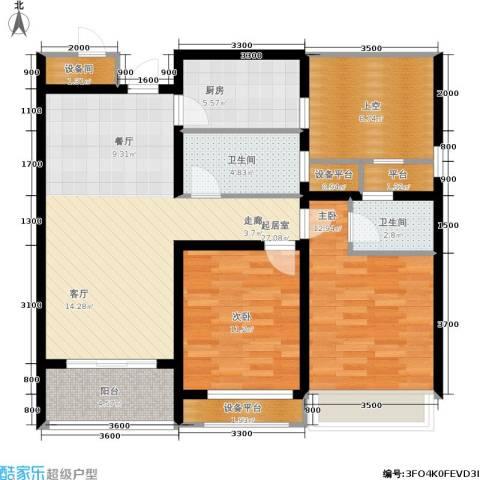 华鼎君临阁2室0厅2卫1厨102.00㎡户型图