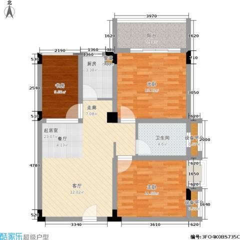 月亮湾草莓街区3室0厅1卫1厨89.00㎡户型图