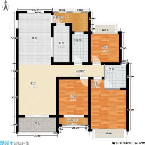 华鼎君临阁3室0厅2卫1厨133.00㎡户型图