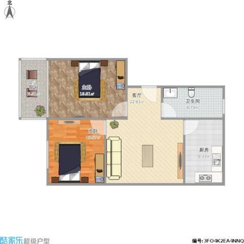 黄海小区2室1厅1卫1厨100.00㎡户型图