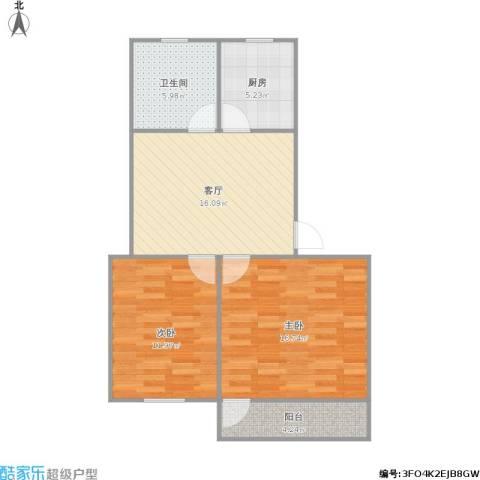 434190现代花园2室1厅1卫1厨80.00㎡户型图