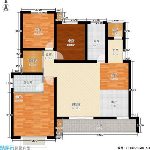 左岸王府3室0厅2卫1厨154.00㎡户型图