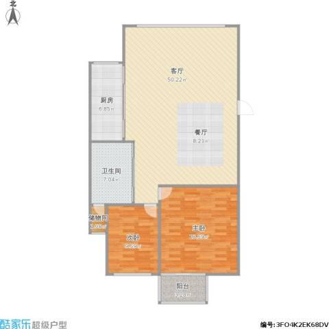 浦东花园2室1厅1卫1厨102.54㎡户型图