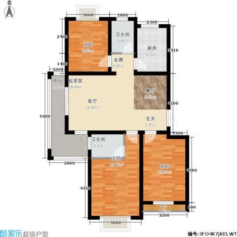 左岸王府3室0厅2卫1厨129.00㎡户型图