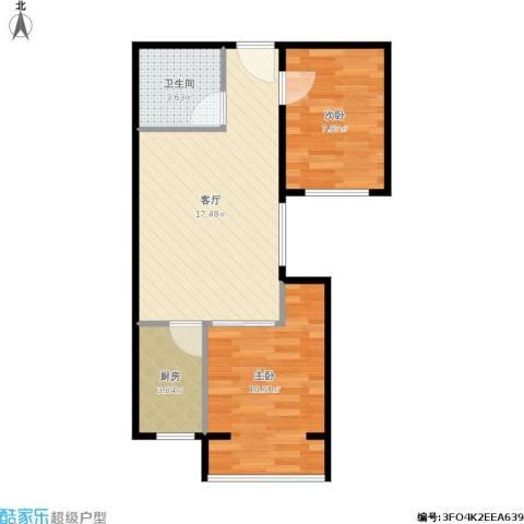 长安壹线2室1厅1卫1厨60.00㎡户型图
