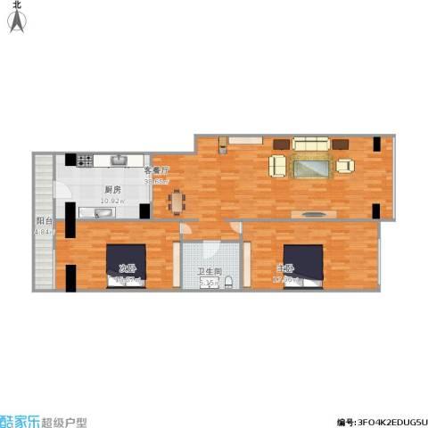 德威御园2室1厅1卫1厨127.00㎡户型图