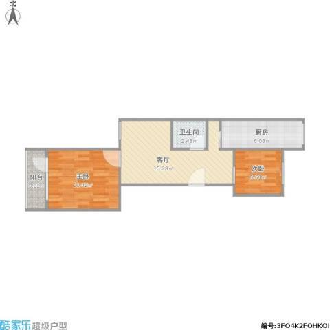 芍药居北里2室1厅1卫1厨60.00㎡户型图