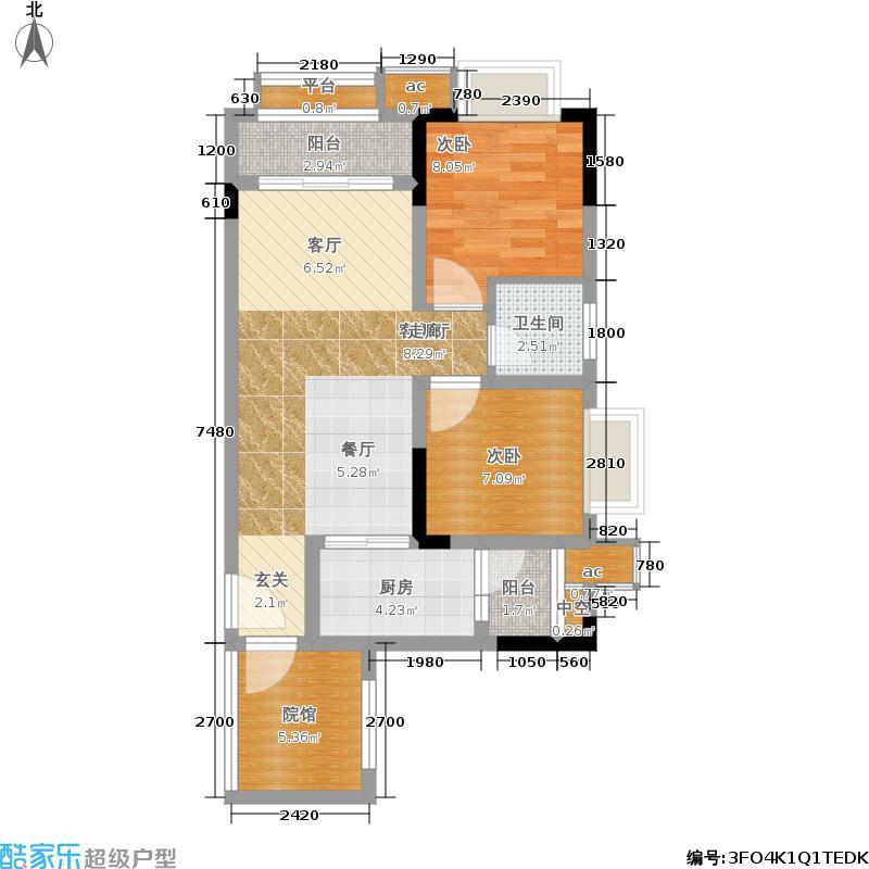 葛洲坝微客公馆72.49㎡2#楼标准层E户型1室2厅