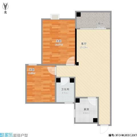 宏宇・龙湖湾2室1厅1卫1厨82.00㎡户型图