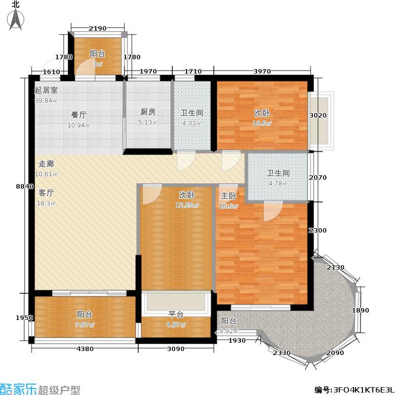 卓达东方巴哈马134.59㎡二期拿索风情红鹳(1栋)A座奇数层06  户型3室2厅