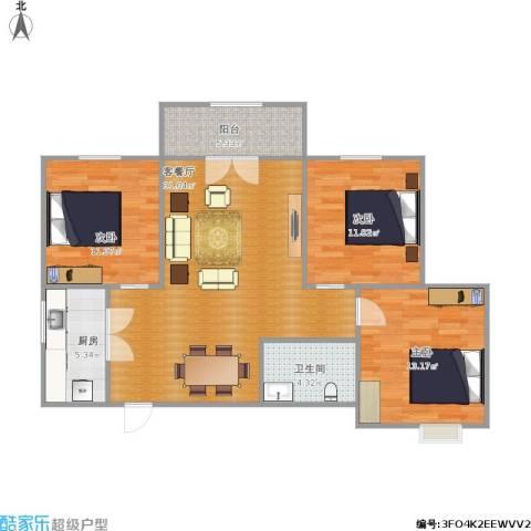 昆明时光3室1厅1卫1厨109.00㎡户型图