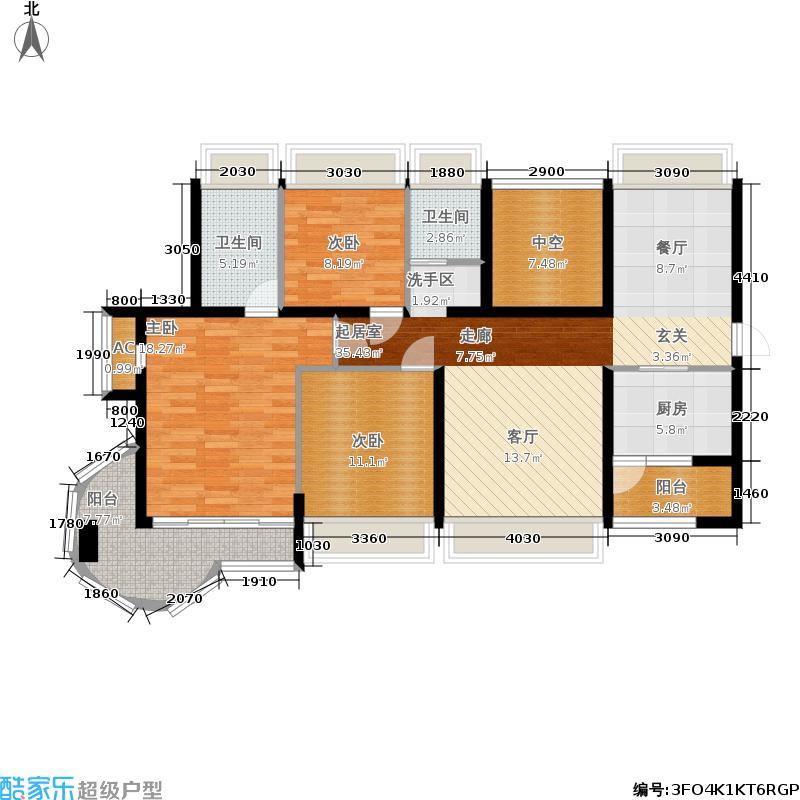 卓达东方巴哈马123.30㎡二期拿索风情B组团偶5-7-05 户型3室2厅