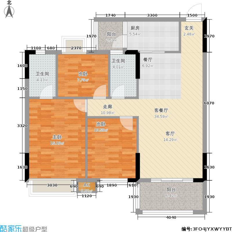 利泰花林湖畔103.44㎡童话组团6号楼2梯2-9层04户型