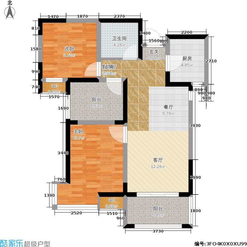 金泰新理城90.21㎡20号楼B1户型3室2厅