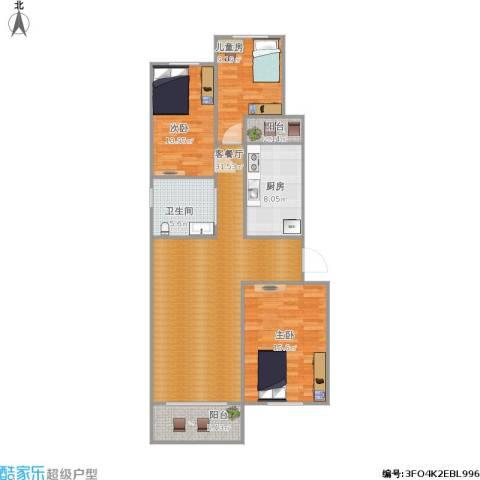 龙跃苑一区3室1厅1卫1厨119.00㎡户型图