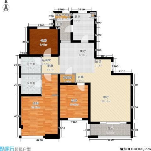 仁恒湖滨城3室0厅2卫1厨156.00㎡户型图