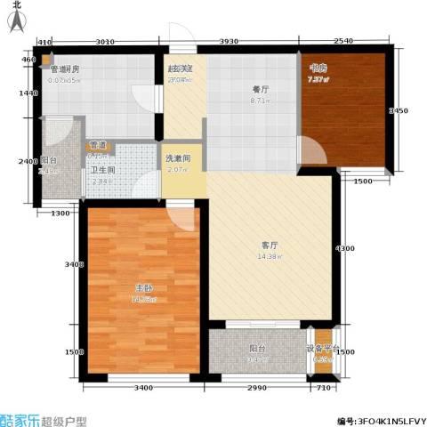 仁恒湖滨城2室0厅1卫1厨95.00㎡户型图