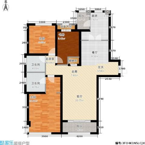 仁恒湖滨城3室0厅2卫1厨150.00㎡户型图