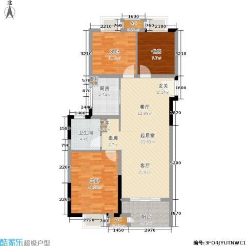 景瑞望府3室0厅1卫1厨90.00㎡户型图