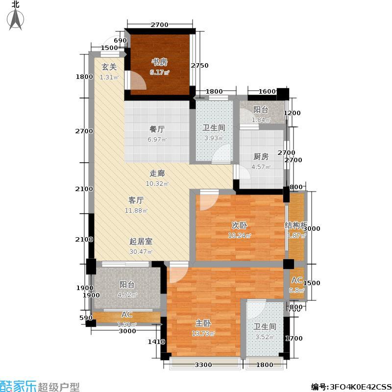 荣富西城尚锦96.00㎡二期6号楼标准层D4户型