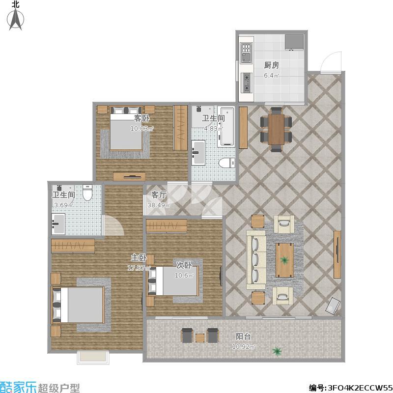 悟星城126.8户型三室两厅