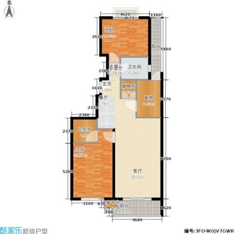 协合紫薇园2室1厅2卫1厨127.00㎡户型图