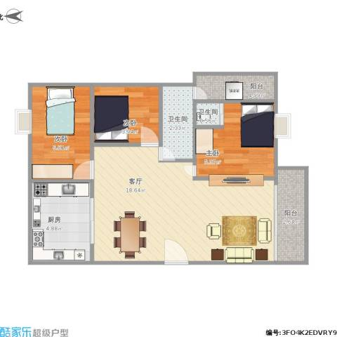 湖景花园22栋2023室1厅2卫1厨64.00㎡户型图