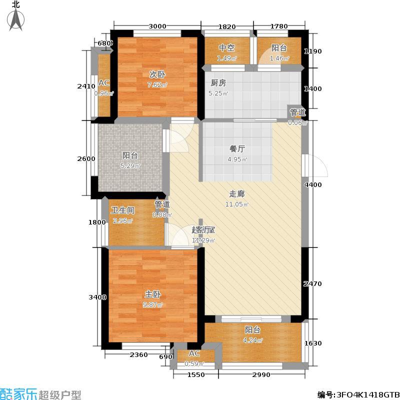 龙湖湘风星城88.49㎡F2户型2室2厅