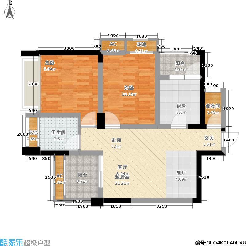 荣富西城尚锦77.43㎡一期5号楼标准层A1户型