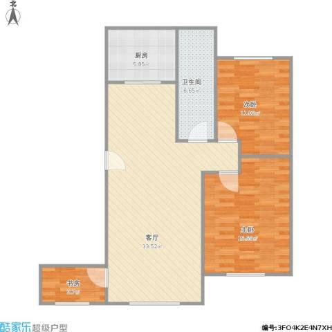 圆梦园3室1厅1卫1厨81.73㎡户型图