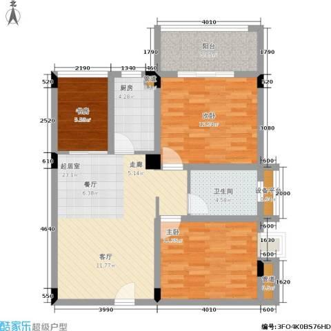 月亮湾草莓街区3室0厅1卫1厨90.00㎡户型图