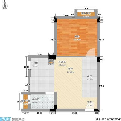 月亮湾草莓街区1室0厅1卫0厨56.00㎡户型图