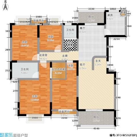 博雅湘水湾4室0厅2卫1厨164.00㎡户型图