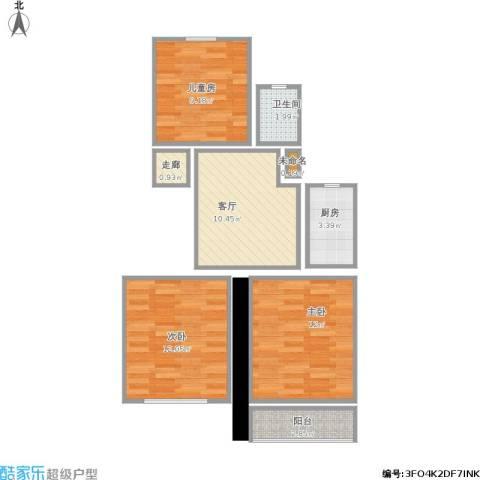 羽山路1000弄小区3室1厅1卫1厨73.00㎡户型图