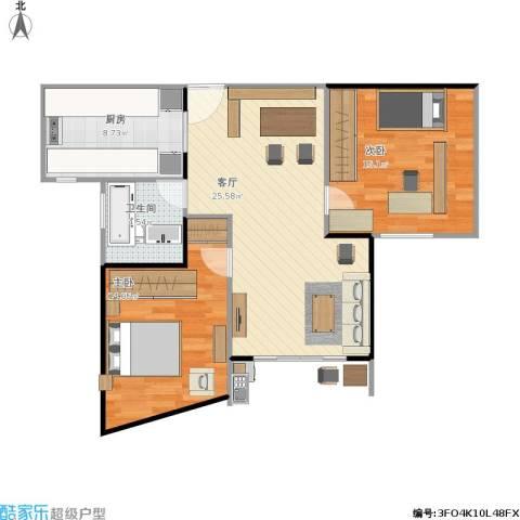 大华锦绣华城第16街区2室1厅1卫1厨91.00㎡户型图