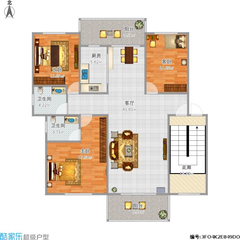 A户型三室两厅132.27