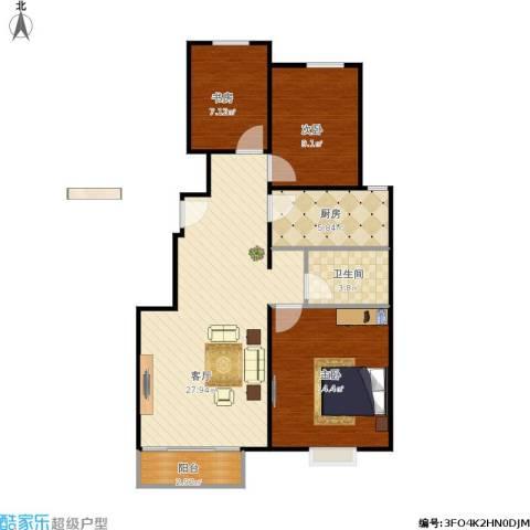 中国铁建·青秀尚城3室1厅1卫1厨96.00㎡户型图