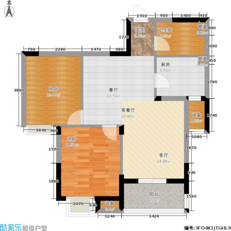 广厦天都城蓝调公寓89.00㎡2#3#4#E户型2室2厅