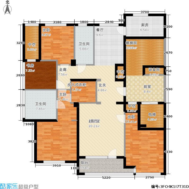 绿城百合花园163.00㎡D11#楼H户型4室2厅
