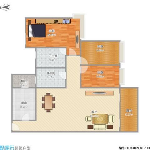 雅居乐熹玥3室1厅2卫1厨158.00㎡户型图