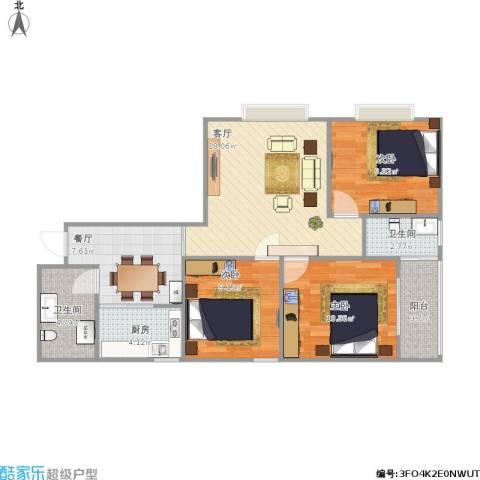 金色1+13室2厅2卫1厨77.28㎡户型图