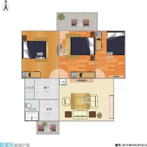 南林二村3室2厅2卫1厨84.00㎡户型图