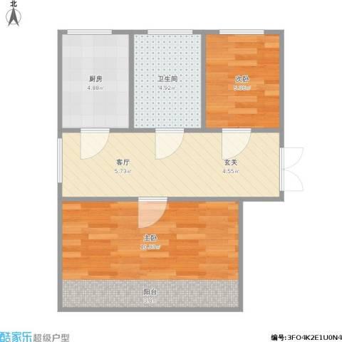 玉带园1室1厅1卫1厨55.00㎡户型图