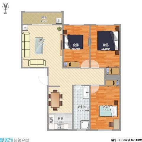 陶然・美地3室1厅1卫1厨115.00㎡户型图