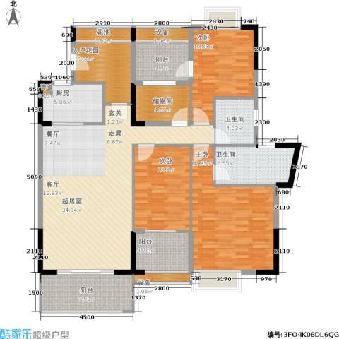 广物锦绣东方3室0厅2卫1厨122.02㎡户型图