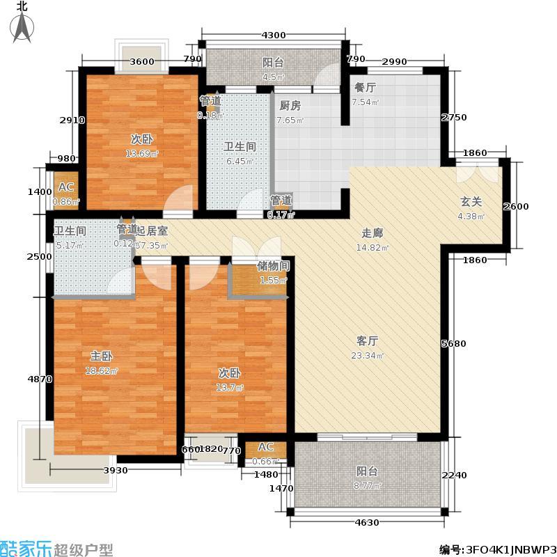 白塘壹号150.00㎡6、11、17#F户型3室2厅